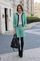 Jaeger London jacket - Mulberry bag - Jaeger London shorts - whistles blouse