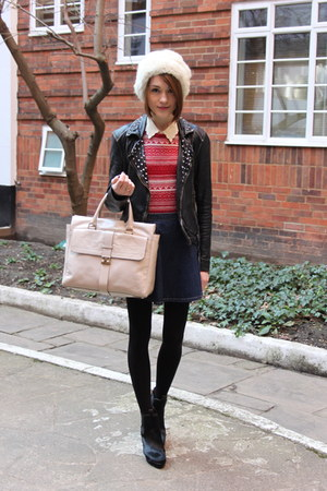 Zara jumper - Hobbs boots - vintage hat - All Saints jacket - Mulberry bag