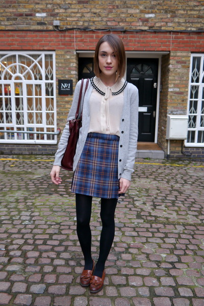 Radley London bag - Sister Jane blouse - vintage skirt - Uniqlo cardigan