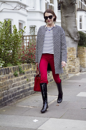 Alice  Olivia coat - Saint Laurent boots - Zara jeans - Lulu Guinness bag
