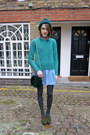 Topshop-dress-topshop-hat-topshop-bag-whisles-jumper-kurt-geiger-loafers