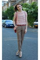Oliver Bonas bag - Topshop blouse - H&M belt - Reiss pants - Aldo heels