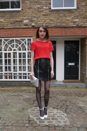 McQ skirt - Kurt Geiger bag - Jaeger London top - Kurt Geiger wedges
