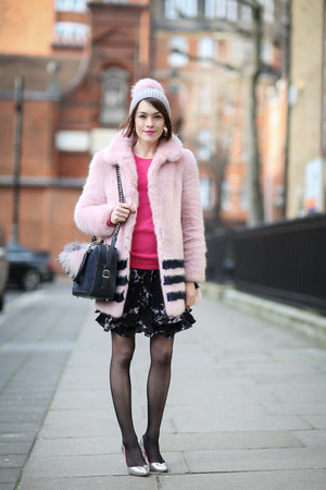Shrimps coat - Rebecca Taylor dress - Boden sweater - aspinal bag