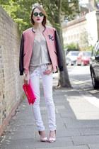 whistles top - Paige Denim jeans - whistles jacket - Guess bag - next heels