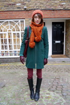 whistles coat - Massimo Dutti boots - Paige Denim jeans - Topshop hat