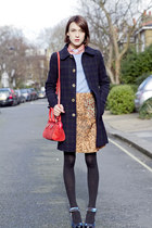 Carven skirt - APC coat - JCrew sweater - Nicholas Kirkwood heels