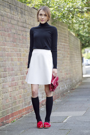 Reiss skirt - Gap sweater - russell & bromley loafers