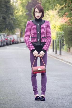 JCrew jacket - Hudson jeans - Gap sweater - Oliver Bonas bag