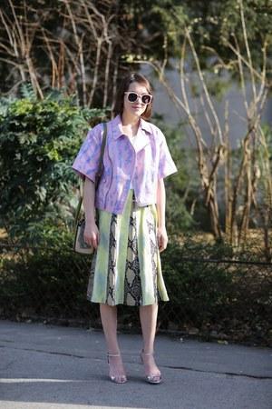 31 Phillip Lim jacket - Dsquared2 bag - Karen Walker sunglasses - Erdem skirt
