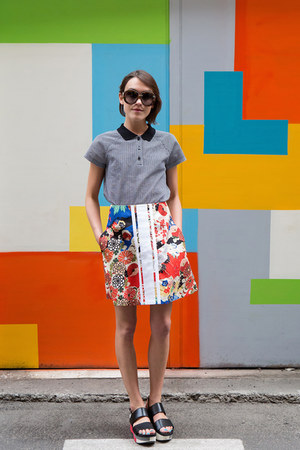 Carven top - Carven skirt - Valentino glasses - Marni sandals