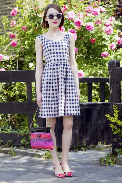 Pinko dress - kate spade bag - Karen Walker sunglasses - LK Bennett heels