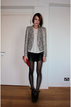 Zara jacket - Accessorize tights - Oliver Bonas bag - Topshop shorts