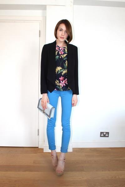 whistles blazer - J Brand jeans - Alberta Ferretti bag - whistles top