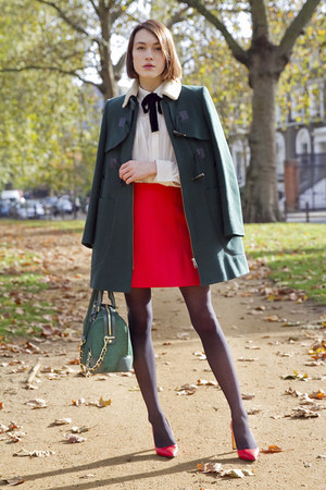 whistles coat - Alice  Olivia bag - Maje blouse - coach heels - JCrew skirt