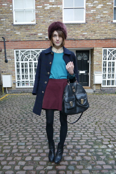 American Apparel skirt - Massimo Dutti boots - APC coat - Topshop hat