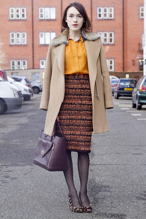 Mulberry shirt - SANDRO coat - Mulberry bag - Hobbs heels - Mulberry skirt