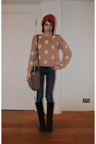 H&M jumper - Massimo Dutti boots - acne jeans - Topshop hat - whistles bag