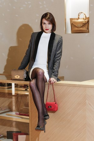 Mulberry dress - Mulberry blazer - Mulberry bag - Mulberry heels