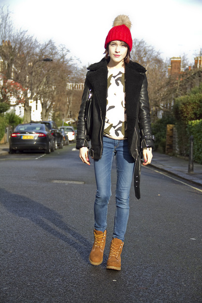 Timberland boots - acne jeans - whistles jacket - Marc by Marc Jacobs bag