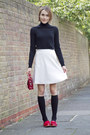 Gap-sweater-reiss-skirt-russell-bromley-loafers