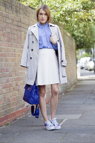 Reiss skirt - Comptoir des cottoniers coat - Gap shirt - Mulberry bag