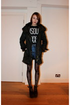 Topshop coat - Accessorize tights - BDG shorts - Topshop t-shirt