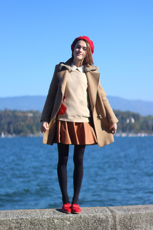 SANDRO coat - Mulberry sweater - Ralph Lauren skirt - russell & bromley loafers