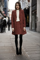 jaeger coat - jaeger jumper - jaeger skirt