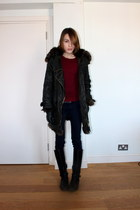 Topshop coat - Massimo Dutti boots - BDG pants - whistles t-shirt