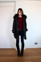 Topshop coat - Massimo Dutti boots - BDG pants - whistles t-shirt