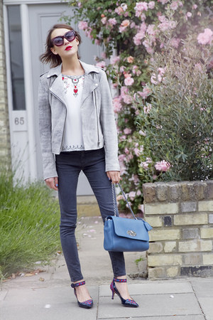Alice  Olivia top - AG Jeans jeans - Armani Exchange jacket - Mulberry bag