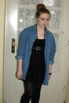 daddys old denim shirt - H&M dress - belt - Mom - Urban Outfitters necklace