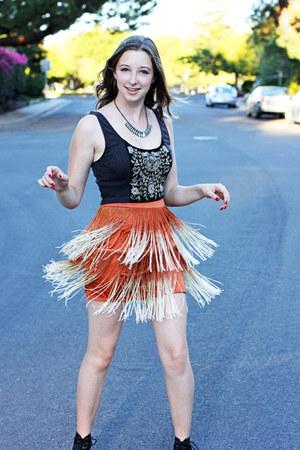 burnt orange Forever 21 skirt - silver Urban Outfitters shirt
