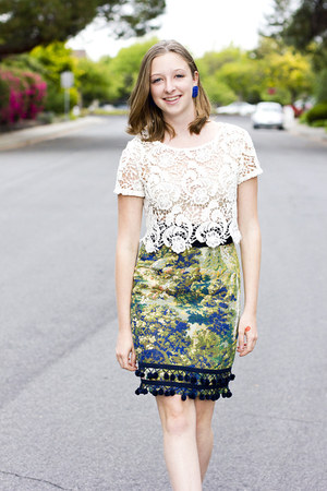 green Anthropologie skirt - maroon Darling coat - white H&M shirt