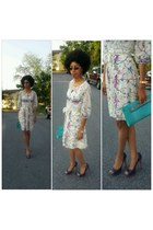ivory dress - turquoise blue purse - deep purple Vince Camuto pumps