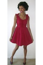 red dress - navy Betsey Johnson pumps - camel feather earrings