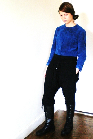 black Zara pants - blue vintage jacket - black Nine West boots