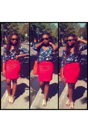 blue flower Zara blouse - Mango bag - pencil skirt H&M skirt - Locale wedges