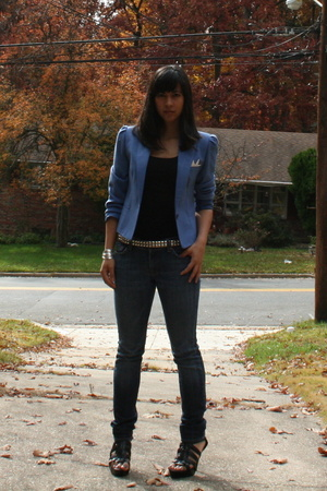 jacket - H&amp;M top - belt - Seven For All Mankind jeans - shoes - Forever21 bracel