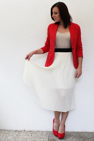 lookbookstorecom skirt - Bershka blazer - H&M shirt - H&M pumps