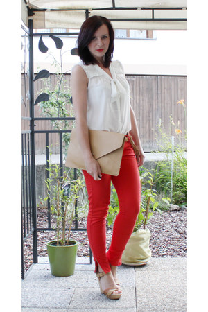 beige Ebay bag - beige Pimkie wedges - white H&M blouse - red New Yorker pants