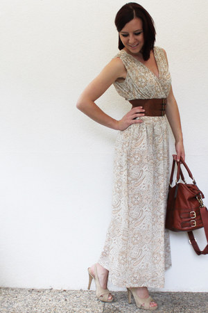 beige maxi dress H&M dress - tawny H&M bag - tawny noname belt