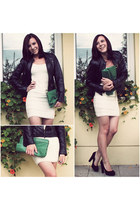 black leather vintage jacket - off white lace H&M dress