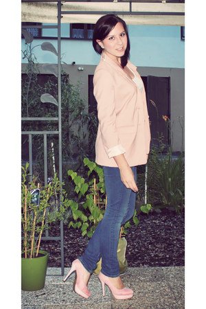 navy Pimkie jeans - light pink H&M blazer - white basic H&M shirt - light pink B