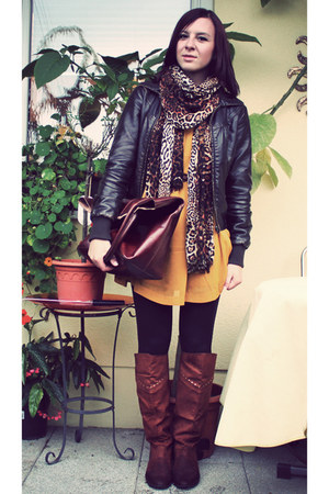 mustard H&M dress - dark brown leather jacket Pimkie jacket