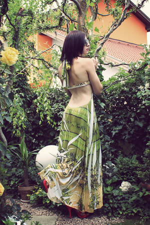lime green maxi dress vintage dress - red H&M heels