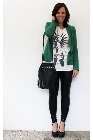 Zara blazer - leather noname leggings - noname shirt - H&M bag - H&M pumps
