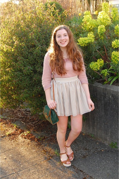 light yellow chiffon American Apparel skirt - light pink thrifted sweater