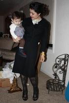 black vintage suit - black vintage dior tights - black Carlos Santana shoes - wh